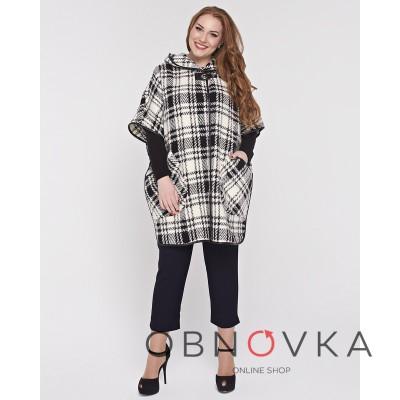 Женское шерстяное пальто-пончо