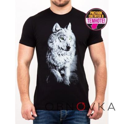 Черная футболка Волк
