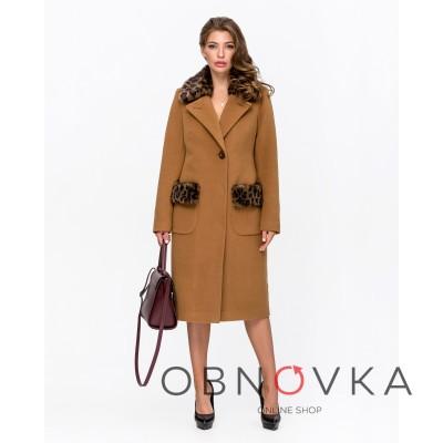 Жіноче зимове пальто Mangust 5095 гірчиця