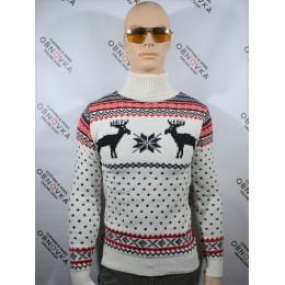 Праздничный свитер мужской Figo 002 белый