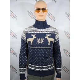 Праздничный свитер мужской Figo 002 синий