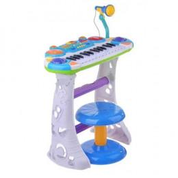 Детское пианино на ножках со стульчиком и микрофоном Joy Toy (7235) синий