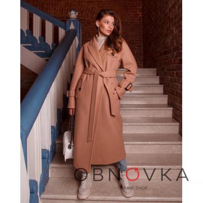 Демисезонное длинное пальто женское