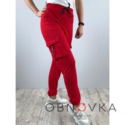 Женские красные спортивные штаны
