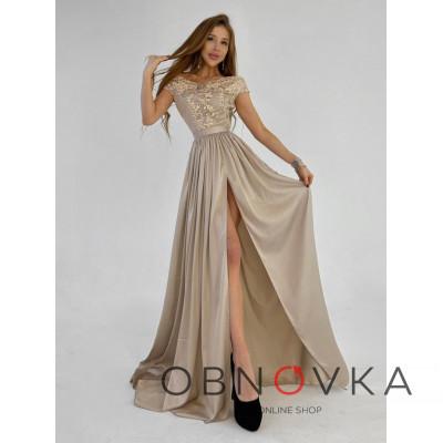 Платье-макси с кружевным верхом