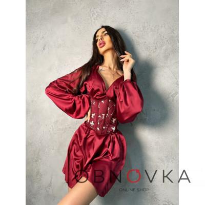 Комплект: шелковое платье на завязках с корсетом