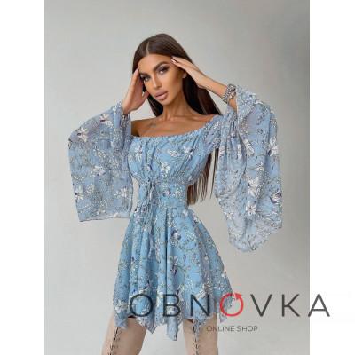 Платье с расклешенными рукавами в комплекте с корсетом