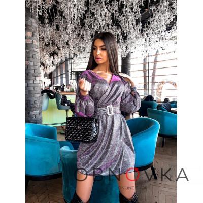 Платье-мини с широким поясом из голографического трикотажа с люрексом