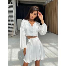 Шелковый комплект: укорочённая рубашка + юбка с запахом