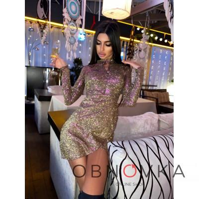 Блестящее облегающее платье с юбкой с запахом