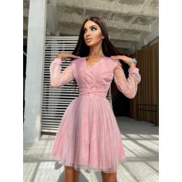 Блестящее платье-мини с пышной юбкой и завязками на талии