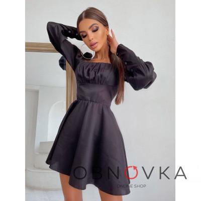 Платье с объемными рукавами из хлопка