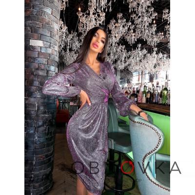 Платье-футляр из голографического трикотажа с люрексом