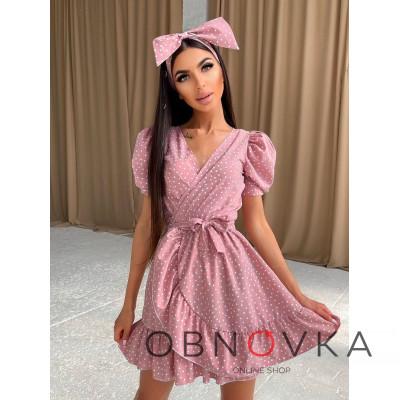 Милое платье в горошек с оборками + повязка на голову с бантом