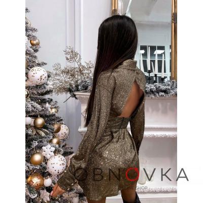 Блестящее платье-рубашка с открытой спинкой