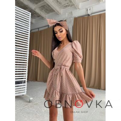 Милое платье в горошек с оборками и повязка бант