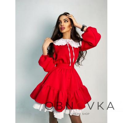 Платье со съёмным воротничком и подъюбником