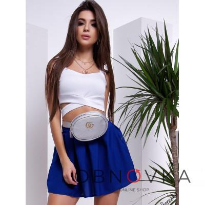 Синяя юбка мини в складку