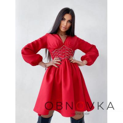 Платье с корсетной вставкой и пышной юбкой